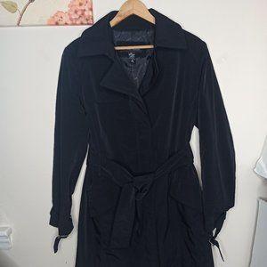 New York &Co Jacket Coat Black Knee Length Belt M